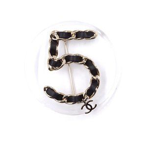 Chanel Clear Black XL Large Number 5 Brooch Pin